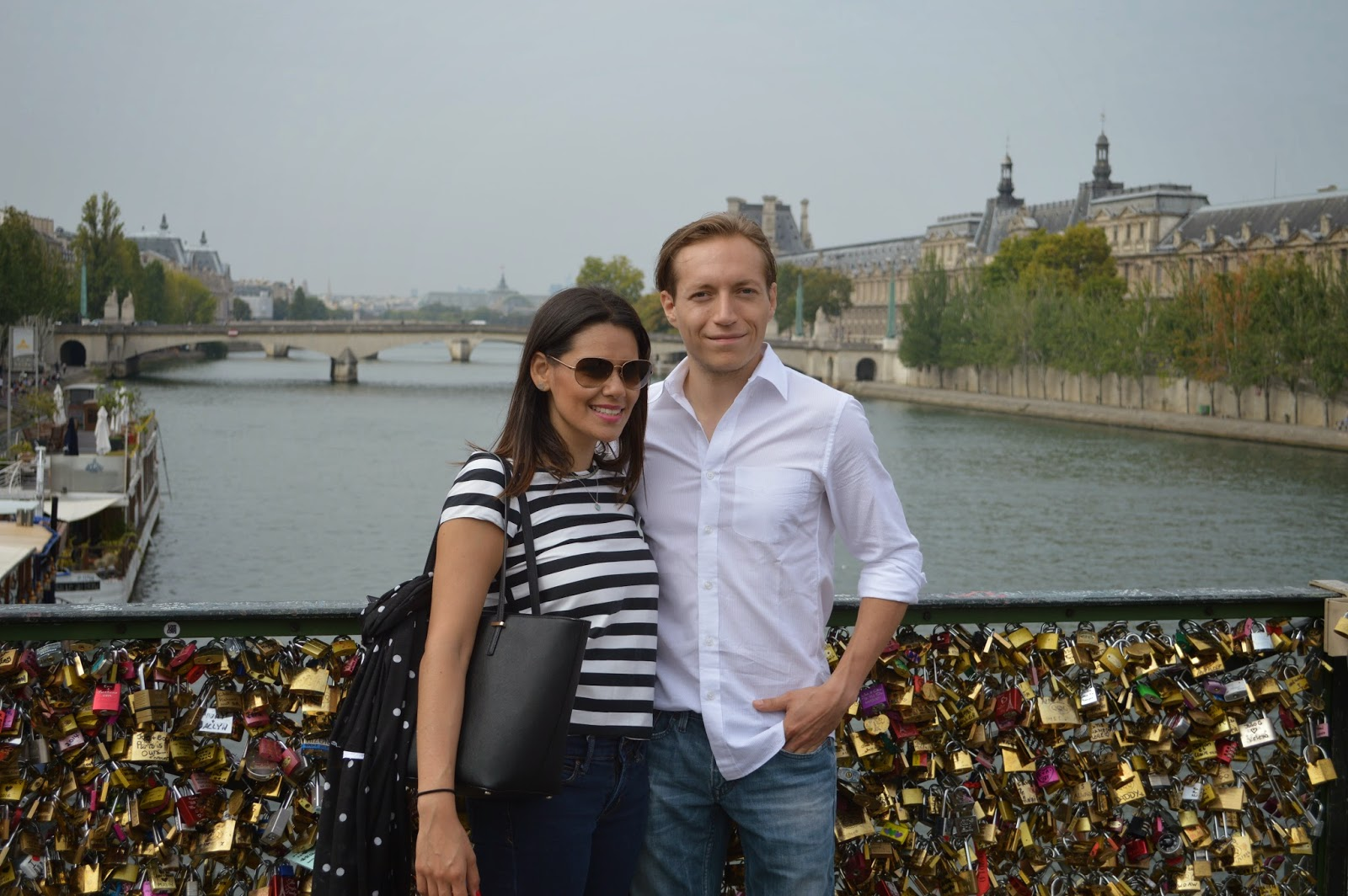 Marifer and David at Pont des Arts bridge. Paris