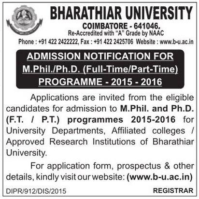 coursework for phd in bharathiar university