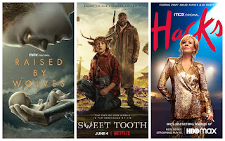 3 movie style posters for Raised by Wolves, Sweet Tooth, Hacks