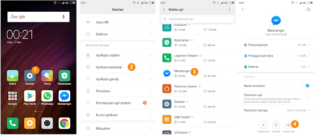 Cara mengatasi aplikasi messenger eror