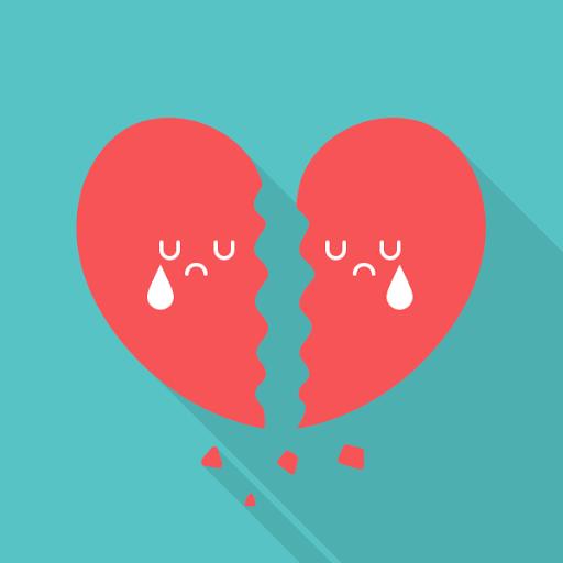 broken heart flat icon
