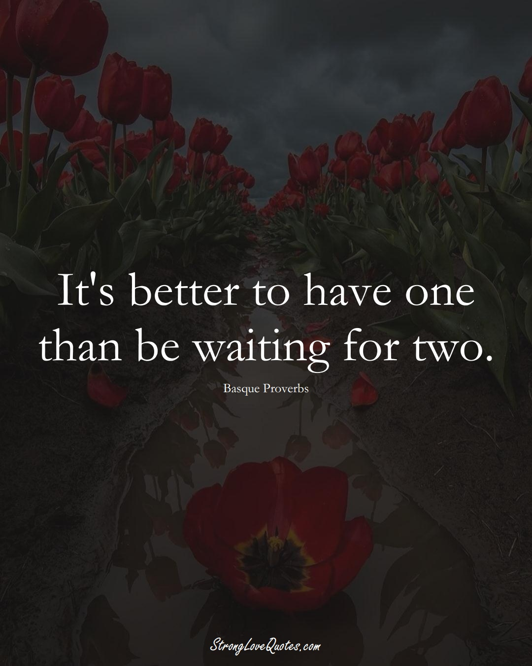 It's better to have one than be waiting for two. (Basque Sayings);  #EuropeanSayings