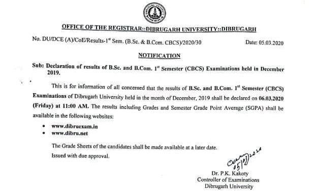 Dibrugarh University TDC 1st Semester Exam Result 2020 - Check Now