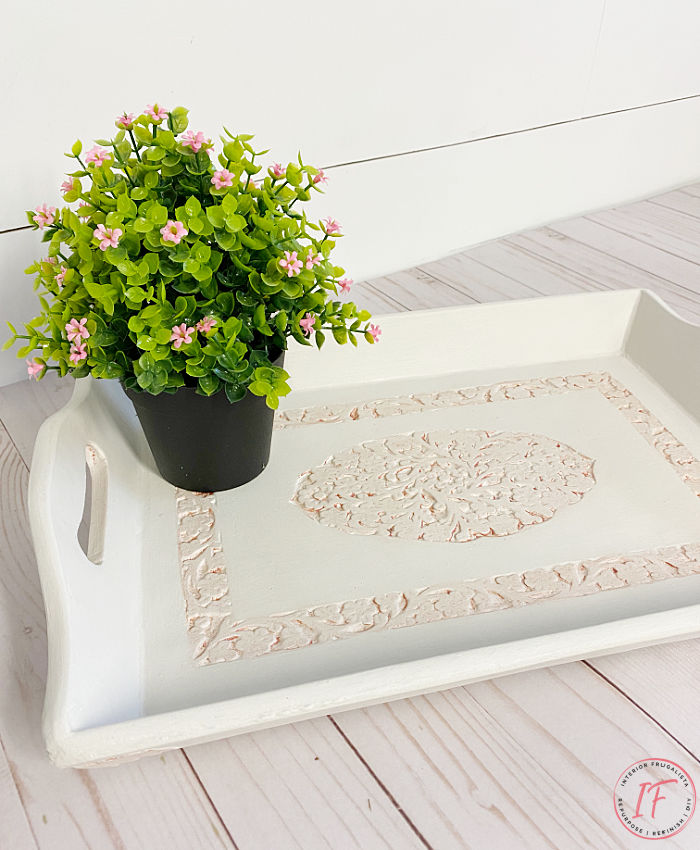 How to fix wood bleed and stubborn stains from coming through white paint. Demonstrated with an upcycled carved wood tray makeover with paint bleed.