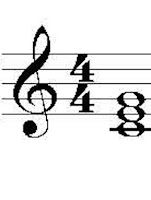 Picture showing a C major chord in treble clef