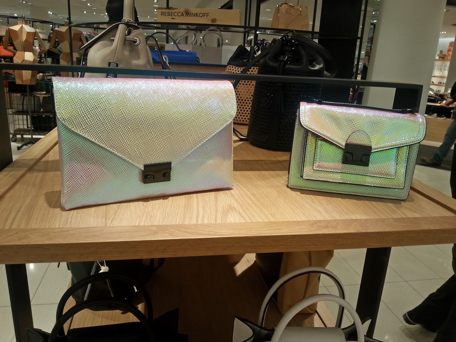 Loeffler Randall Mini Rider bag and Lock Clutch - both in a beautiful iridescent finish