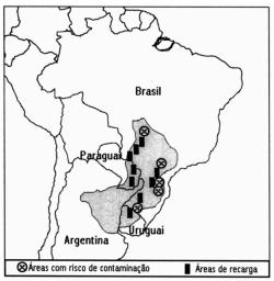 Uma pesquisa realizada em 2002 pela Embrapa apontou cinco pontos de contaminação do aquífero por agrotóxico, conforme a figura