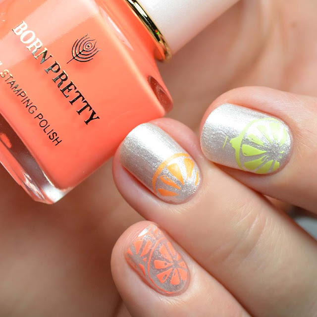 stamped citrus nail art