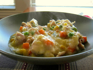 Serve up steaming plates or bowls of your delicious chicken and dumplings casserole.