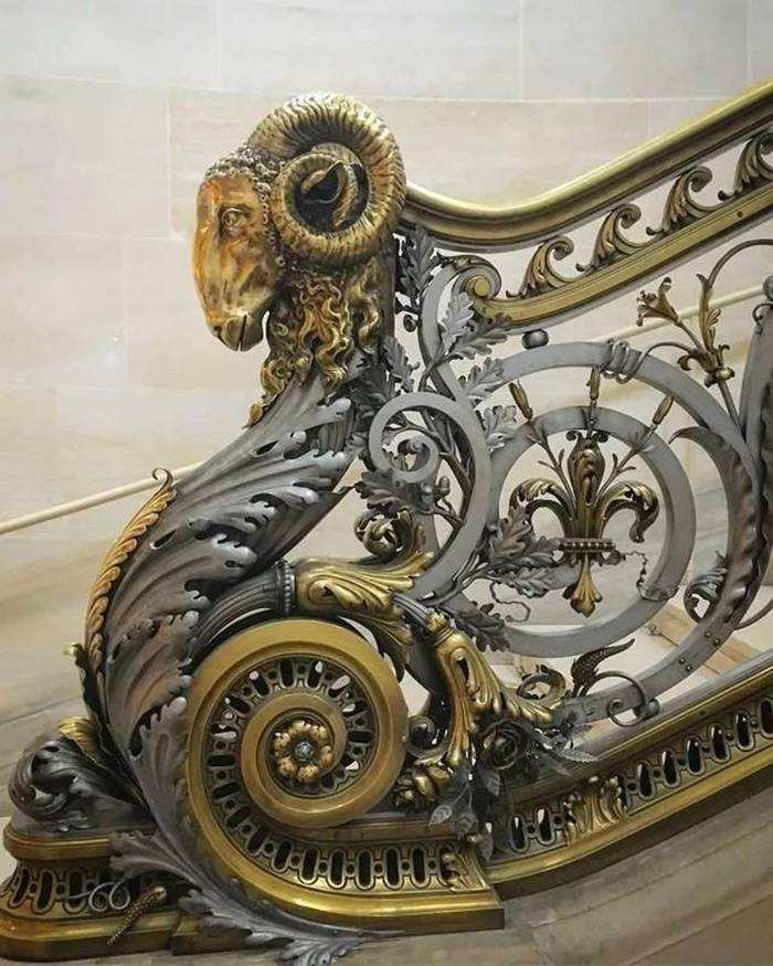 Railings of incredibly beautiful work at Chateau de Chantilly in France.