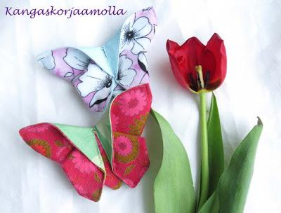 origami perhonen hiuspinni