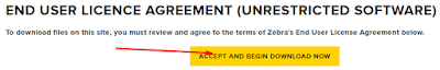screenshot ACCEPT License Agreement for Zebra P320i / P330i  download and supports