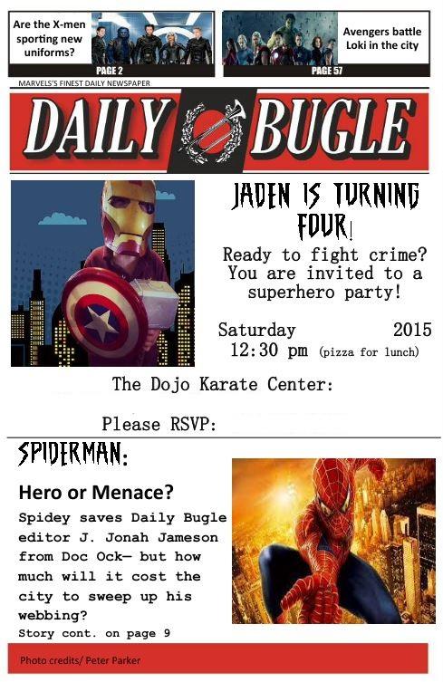 Spider Man Newspaper Invitation Cogimbo