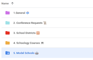 Screenshot of google drive with labels and emojis
