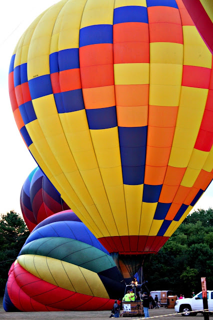 Hot air balloon ready to lift off in Waterford, WI