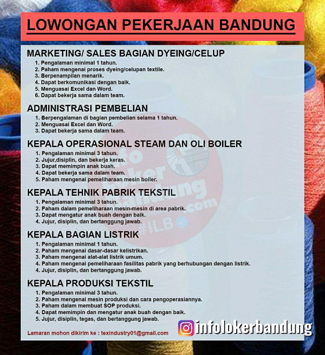 Lowongan Kerja Perusahaan Textile Bandung Juni 2020