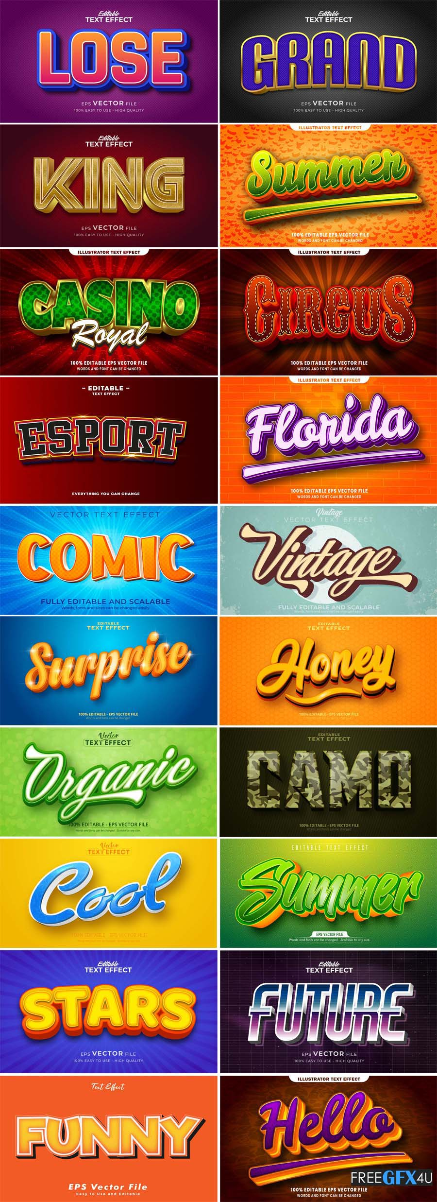 23 3D Text Style Effect Vector