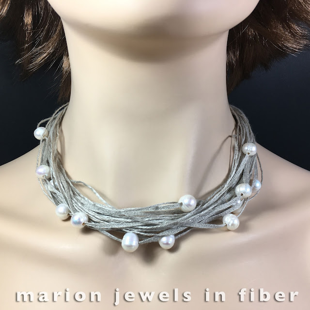 Multi Strand Linen Necklaces with Fresh Water Pearls