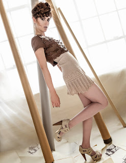 High Waisted Lace Trimmed Knitted Skirt