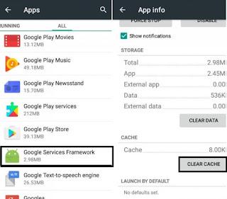 Hapus Cache Google Service Framewok