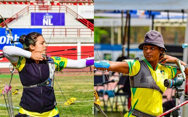 Ana Machado e Ane Marcelle em disputa individual do tiro com arco