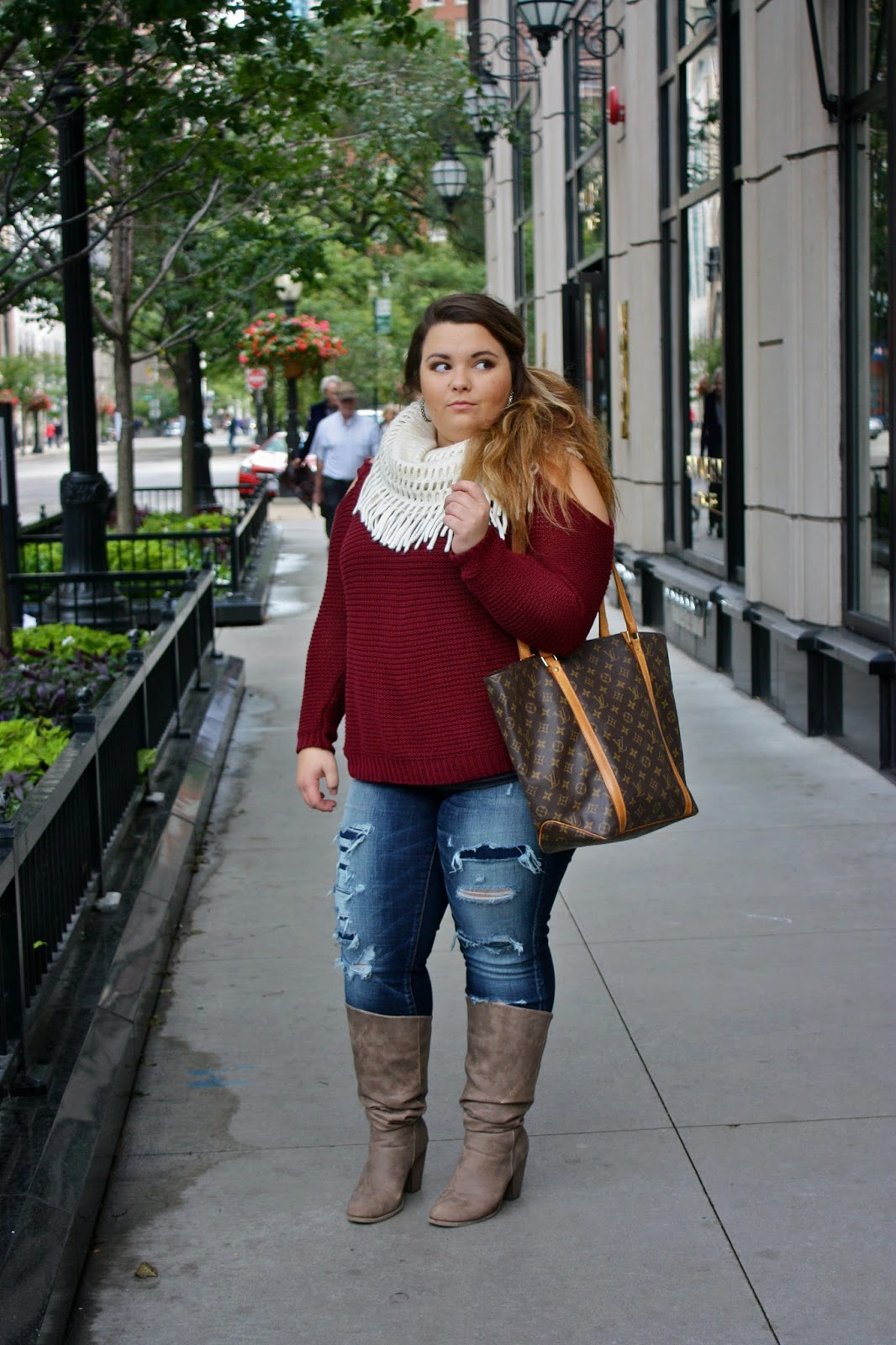 infinity scarf, fall colors, fall style, fall fashion, american eagle denim, forever 21, plus size fashion blogger, natalie craig, chicago, fashion blogger, natalie in the city, destroyed denim, boots, curvy fahionista, akira chicago, plus size boots, louis vuitton, side pony tail, thick hair styles, sweater cut-outs,
