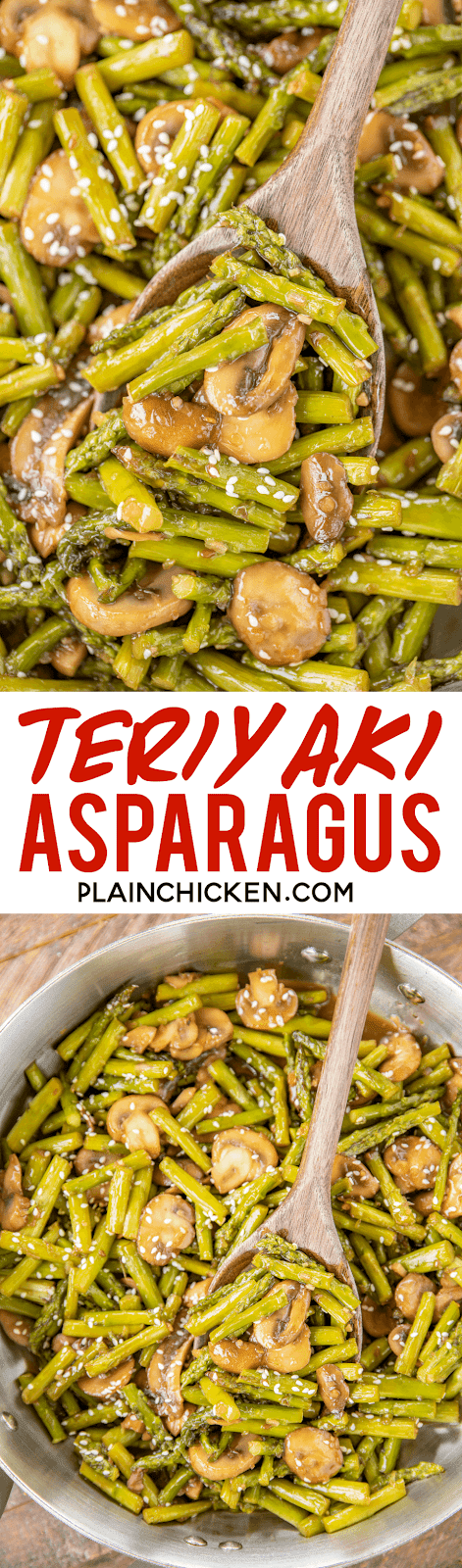 asparagus and mushrooms in a skillet
