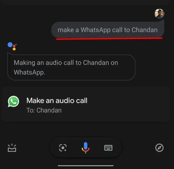 إجراء مكالمة Whatsapp من خلال Google Assistant