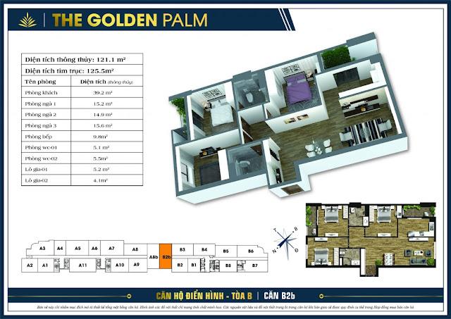 Mặt bằng căn B2 The Golden Palm