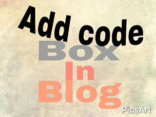 Add Code Box In Blog Or Blog Post.