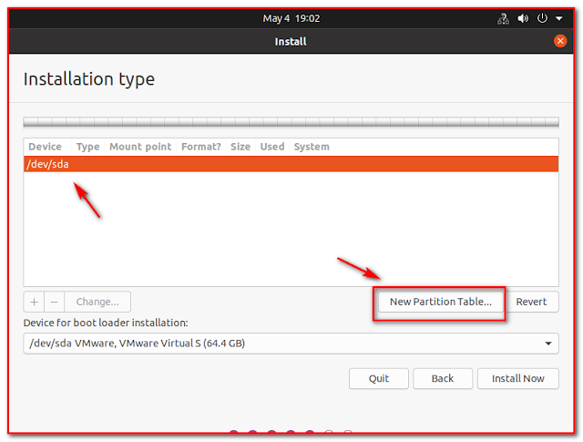 Create New partition table
