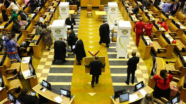 South Africa's opposition party in parliament moves to dissolve the national assembly