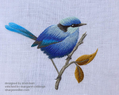 Completed thread painted blue bird