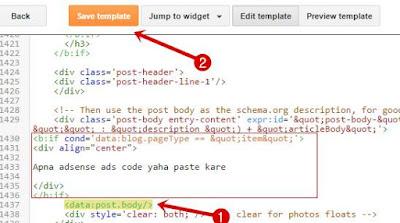 Blogger adsense code paste