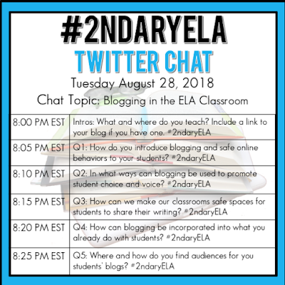 Join secondary English Language Arts teachers Tuesday evenings at 8 pm EST on Twitter. This week's chat will be about blogging in the ELA classroom.