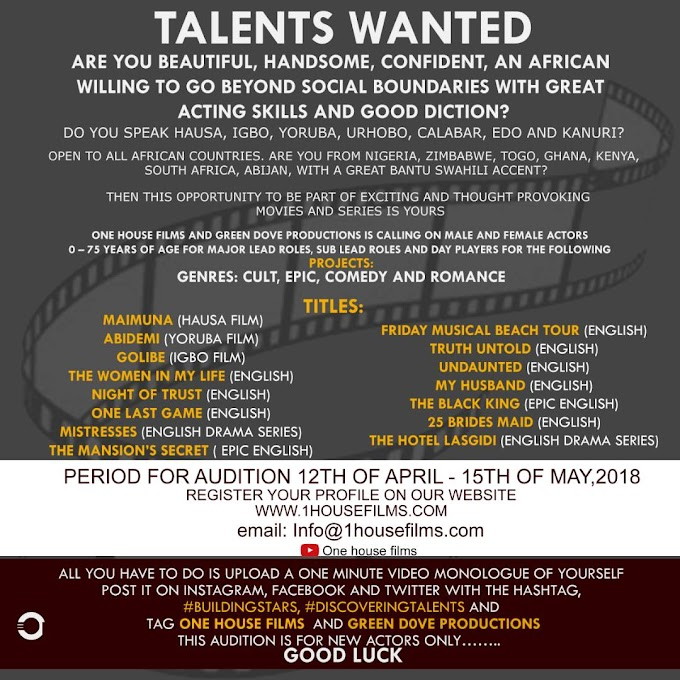 Productions Talent Recruitment Do Not Miss This Time: Talents Wanted.