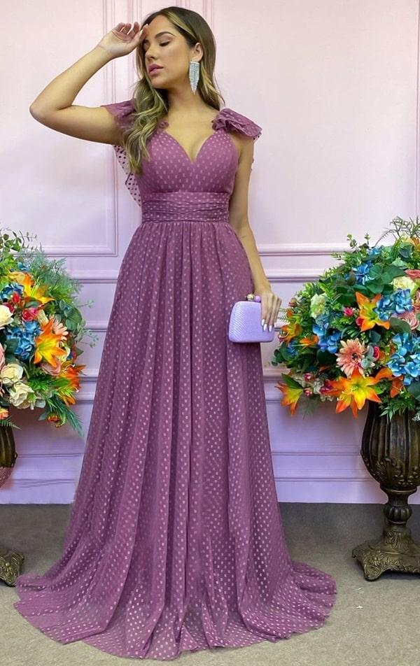 vestido longo rosa canela para madrinha de casamento