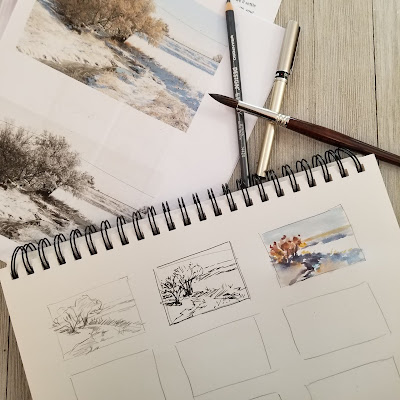 Making a variety of sketches for planning. © 2021 Christy Sheeler Artist