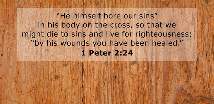 """""""He himself bore our sins"""" in his body on the cross, so that we might die to sins and live for righteousness; """"by his wounds you have been healed."""""""