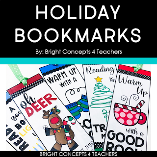 Holiday Bookmarks freebie