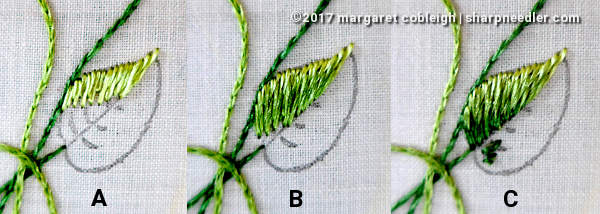 Progressing through the stages of stitching a leaf. (Society Silk Violets)