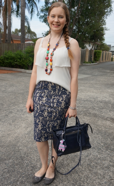 summer office outfit pleated white ruffle cami with lace navy pencil skirt and rebecca minkoff regan bag | away from blue