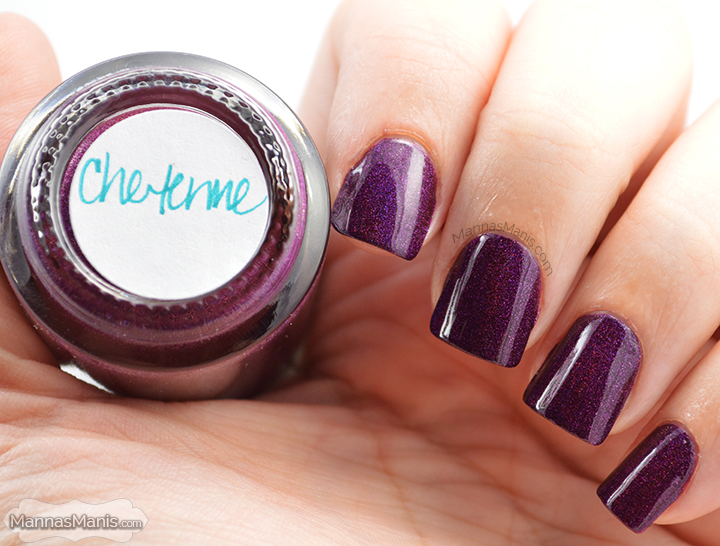 Cheyenne from daily hues nail lacquer, a purple holographic nail polish