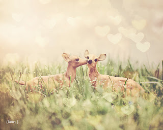 "Toy Deer Photography, Kissing Deer , Baby Nursery, Love Is In The Air, Home Decor, Fine Art, 8x8, 8x10 inches - ""Let's Meet In The Middle"" fawn bokeh hearts blush pink gold green vintage sweet cute baby girl wall art"