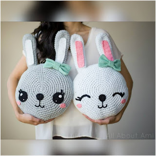 patron amigurumi Almohadones conejitos all about ami