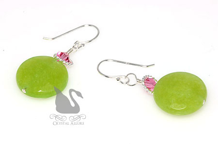 Crystal Apple Green Dyed Jade Gemstone Beaded Earrings (E274-AG)