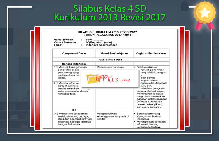 Silabus Kelas 4 SD Kurikulum 2013 Revisi 2017
