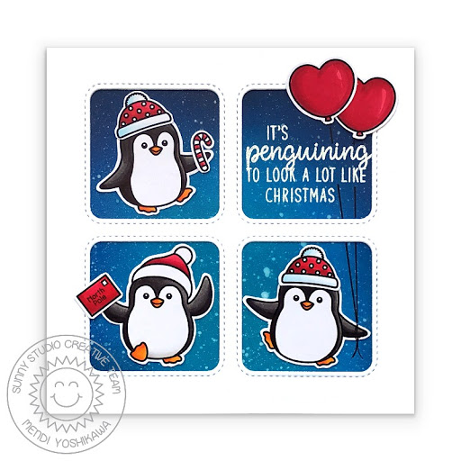 Sunny Studio It's penguining to look a lot like Christmas Punny Handmade Holiday Card (using Penguin Pals Stamps & Window Quad Square Dies)