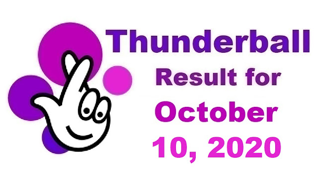Thunderball Results for Saturday, October 10, 2020