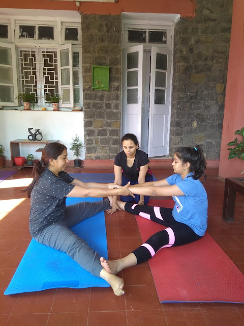 Yoga therapy session in progress